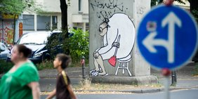 Karikatur im Straßenbild