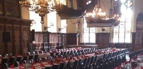 Obere Rathaushalle, geschmückt zum Mahl der Arbeit