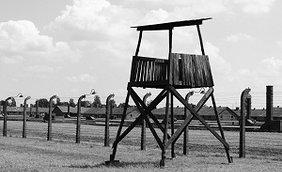 Stacheldrahtzaun und Wachturm im KZ Auschwitz
