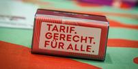 Stempel Zukunftsdialog mit Slogan Tarif. Gerecht. Für alle.